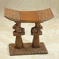 Decorative wood throne stool, 'Lion King' - Handcrafted Decorative Wood Lion Throne Stool from Ghana