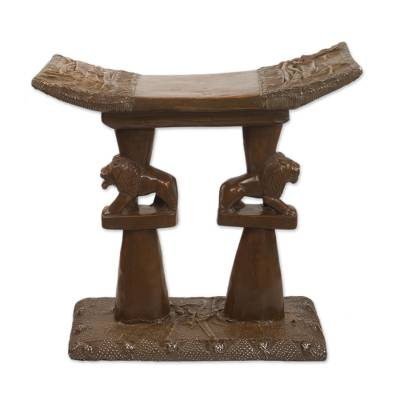 Handcrafted Decorative Wood Lion Throne Stool from Ghana