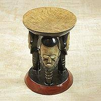 Decorative wood stool, 'Household Family' - Handcrafted Decorative Stool with Face Designs from Ghana