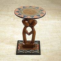 Cedar wood accent table, 'Household Lovers' - Handcrafted Love-Themed Cedarwood Accent Table from Ghana