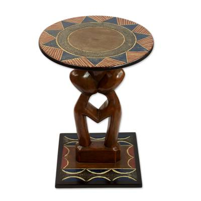 Handcrafted Love-Themed Cedarwood Accent Table from Ghana