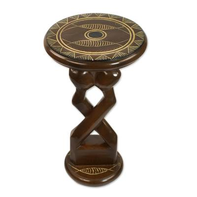 Handcrafted Cedarwood Artistic Accent Table from Ghana