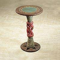 Cedar wood accent table, 'Dancing Trio' - Cedar Wood Accent Table in Pink and Beige from Ghana