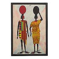 Cotton batik wall art, 'Water Carriers II' - Handcrafted Batik Wall Art of African Women from Ghana