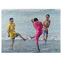 'Fun at the Fishing Bay II' - Ghanaian Original Impressionist of Children at the Seashore