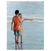 'Fun at the Fishing Bay III' - Ghanaian Original Impressionist of Boys at the Beach