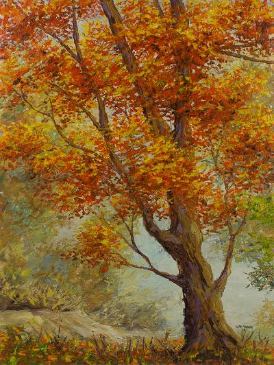 'Beauty of Nature I' - Original Signed Ghanaian Autumn Landscape Painting