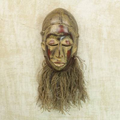 African wood mask, 'Bearded Baule' - Sese Wood and Raffia African Replica Mask from Ghana