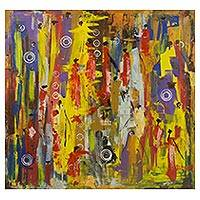 'Busy Day' - Signed Abstract Market Scene Painting from Ghana