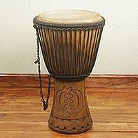 Wood djembe drum, 'Good Energy'