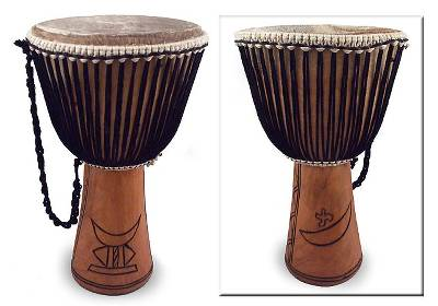 Wood djembe drum, 'Wise Man' - Fair Trade African Djembe Drum