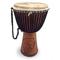 Wood djembe drum, 'Sankofa' - Handmade Wood Djembe Drum