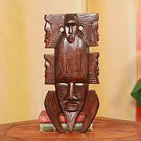 Akan wood mask, 'African Family' - Akan Wood Mask