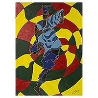 'Paragbiele Festival Dancer' - Color Closure Expressionist Painting of an African Dancer
