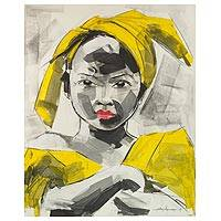 'African Look' (2017) - Signed Expressionist Painting of an African Girl from Ghana