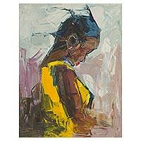 'All Alone' - Impressionist Painting of a Young Girl from Ghana
