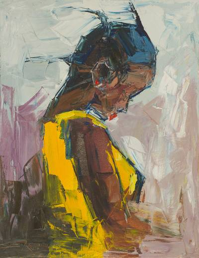 Impressionist Painting Of A Young Girl From Ghana All Alone