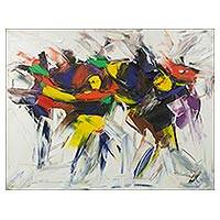 'Damba Dance' - Original African Painting of Festival Dancers