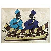 Silk thread wall art, 'Damba Festival' - Handcrafted Silk Wall Art of Two Musicians from Ghana