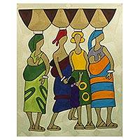 Silk wall art, 'Market Women' - Handcrafted Cultural Silk Wall Art of Women from Ghana