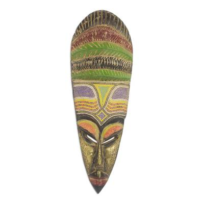 African wood mask, 'Beaded Mother' - African Sese Wood Mask with Intricate Multicolor Beading
