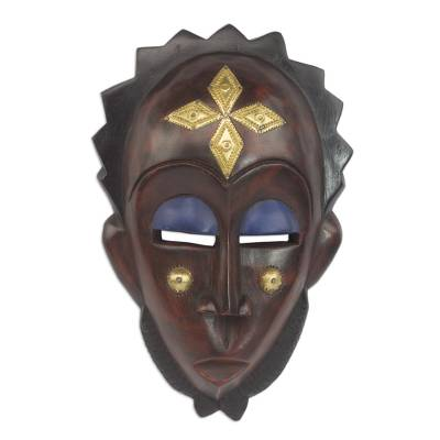 African wood mask, 'Gleaming Forehead' - Handmade African Sese Wood and Brass Mask from Ghana