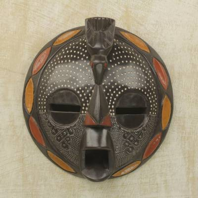 African wood mask, 'Bird Wisdom' - Circular African Wood and Aluminum Mask from Ghana