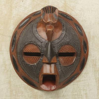 African wood mask, 'Wandering Star' - Hand Carved Wood and Embossed Aluminum Mask