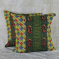 Cotton cushion covers, 'Ntoma' (pair) - 100% Cotton Multi-Colored Print Pair of Cushion Covers