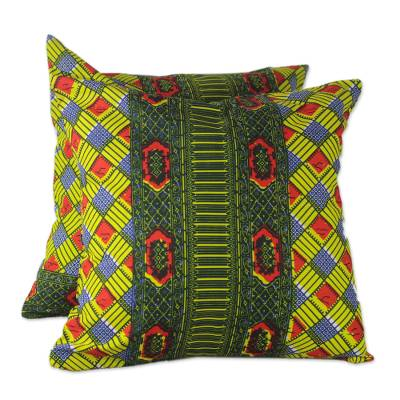 100% Cotton Multi-Colored Print Pair of Cushion Covers
