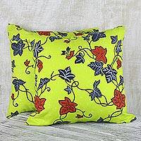 Cotton cushion covers, 'Bright and Sunny' (pair) - 100% Cotton Yellow Leaf Print Pair of Cushion Covers
