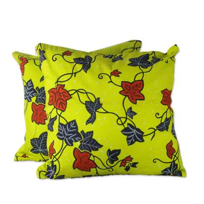 100% Cotton Yellow Leaf Print Pair of Cushion Covers