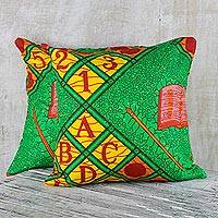 Cotton cushion covers, 'ABC Love' (pair) - 100% Cotton ABC African Print Pair of Cushion Covers