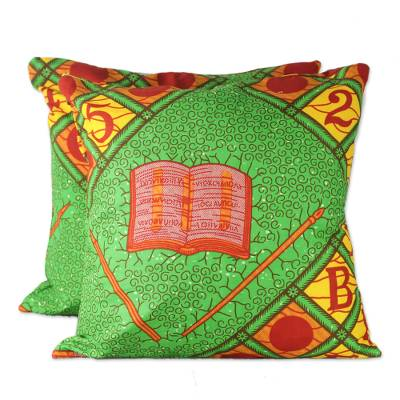 100% Cotton ABC African Print Pair of Cushion Covers