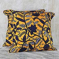 Cotton cushion covers, 'Yellow Summer' (pair) - 100% Cotton Yellow Flower Print Pair of Cushion Covers