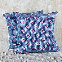 Cotton cushion covers, 'Blue Weave' (pair) - 100% Cotton Pink and Blue Weave Print Pair of Cushion Covers