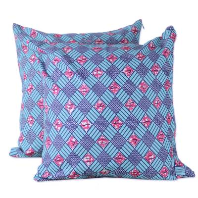 100% Cotton Pink and Blue Weave Print Pair of Cushion Covers