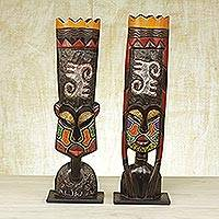 African wood masks, 'Faces of Bravery' (pair) - Two African Glass Beaded Sese Wood Masks from Ghana
