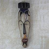 African wood mask, 'Wise King' - Hand-Carved and Hand-Painted King Sese Wood African Mask