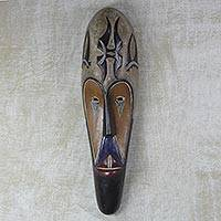 African wood mask, 'Fang Beauty' - Hand-Carved Sese Wood Fang Beauty Hand-Painted African Mask