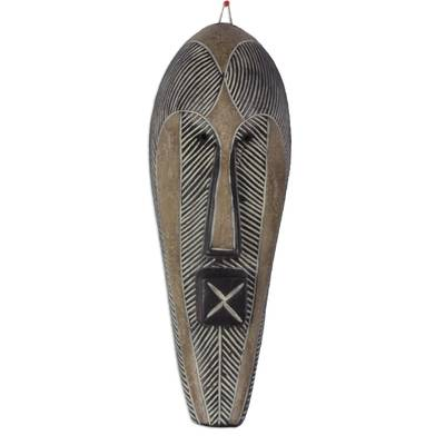 African wood mask, 'Songye Man' - Hand-Carved Songye Man African Sese Wood Wall Mask