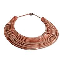 Leather statement necklace, 'Songtaaba' - Handmade Brown Leather Strand Statement Necklace from Ghana