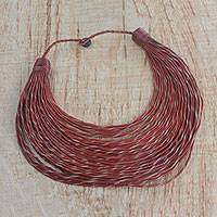 Leather statement necklace, 'Bangre' - Handmade Russet Leather Strand Statement Necklace from Ghana