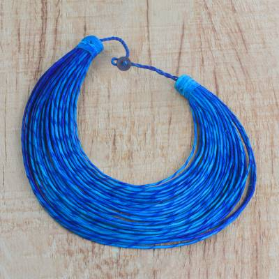 Leather statement necklace, 'Sugri' - Handmade Blue Leather Multi-Strand Statement Necklace