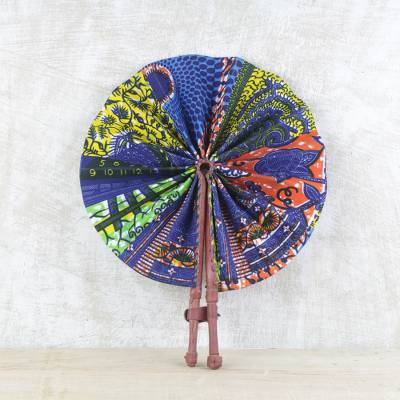 Cotton and leather hand fan, 'Ghana Breeze' - Handcrafted Multicolored Cotton and Leather Fan from Ghana