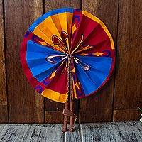 Cotton and leather hand fan, 'African Breeze' - Handcrafted Multicolored Cotton and Leather Fan from Ghana
