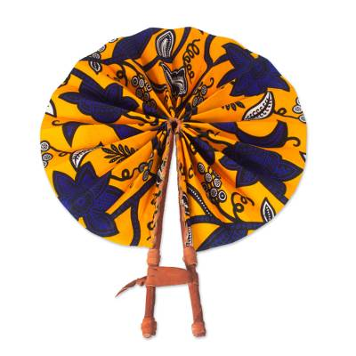 Cotton and leather hand fan, 'Ray of Sunshine' - Handcrafted Tangerine Cotton and Leather Fan from Ghana