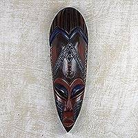 African wood mask, 'Blue Eyelash' - Artisan Crafted African Wood and Aluminum Mask