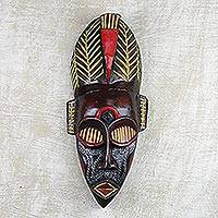 African wood mask, 'Eyelash Bird' - Handmade African Wood Mask with Bird Beak