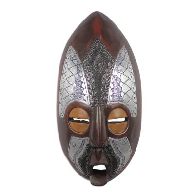 African Sese Wood and Aluminum Mask from Ghana